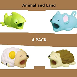 Cable Protector for iPhone iPad Cable Cord Plastic Cute Land Animals Phone Accessory Protects USB Charger Data Protection Cover Chewers Earphone Cable Bite 4 PC (CMSH)