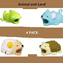 DECVO Cable Protector for iPhone iPad Cable Android Samsung Galaxy Cord Plastic Cute Land Animals Phone Accessory Protects USB Charger Data Protection Cover Chewers Earphone Cable Bite 4 PC (CMSH)