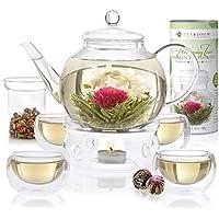 Teabloom Celebration Complete Tea Set with 4 Double-Wall Glass Teacups