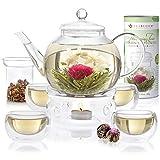 Teabloom Vollständiges Blütentee-Set: Borosilikatglas Teekanne - 12 blühende Tees - Teekannenwärmer - 4 doppelwandige Gläser - Tee-Ei für lose Blätter - Bester Erblühtee Geschenk-Set