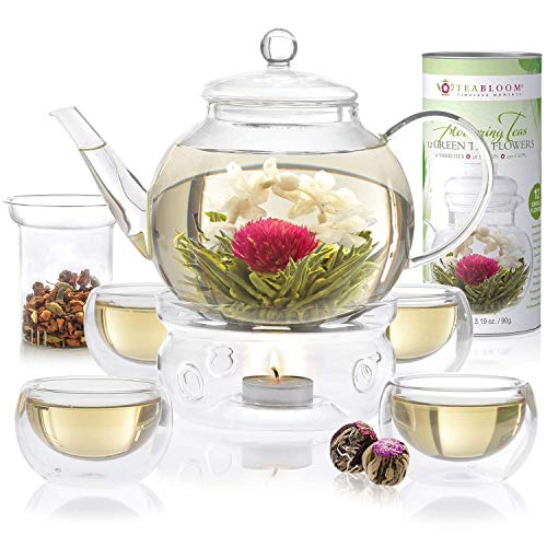 Teabloom Celebration Complete Tea Set – Stovetop Safe Glass Teapot (40 OZ / 1.2 L) with 4...