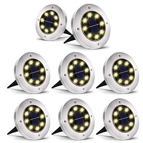 Otdair Solar Ground Lights, 8 LED Warm Light Outdoor Solar Disk Lights, Waterproof In-Ground Lights, Solar Garden Lights, Landscape Lights for Pathway, Yard, Deck, Patio, Walkway, 8 Packs