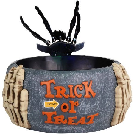 Halloween Trick or Treat Animated Skeleton Hand Candy Bowl