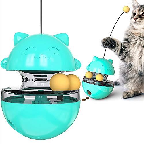 Andiker Juguete interactivo para gatos, con 3 bolas y varita mágica para cazar y dispensar aperitivos móviles, color azul