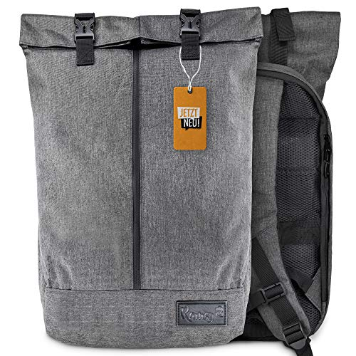 RamsyPro Rolltop Rucksack für Damen & Herren | 50x33x13 | wasserabweisend & diebstahlsicher | mit separatem Fach ideal als Laptop Rucksack für Uni, Schule und Arbeit