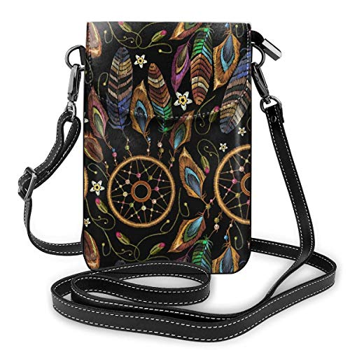 shenguang Phone WalletCrossbody Bag Dream Catcher Magic Feather Leather Vertical Wild Coin Purse Crossbody Bags Mini Cell Phone Pouch Shoulder Bag Forlady