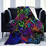 Flannel Plush Luxury Throw Blanket, Funky Trippy Aesthetic Abstract Complex Psychedelic Pattern Blankets for Spring Picnic, Ultra Cozy and Large Washable 60 x 50 Inch