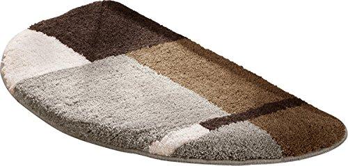 Erwin Müller Duschvorlage, Duschmatte rutschhemmend Natur-braun Größe halbrund 50x80 cm - für Fußbodenheizung geeignet, flauschig, weich (weitere Farben)