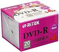 RiTEK V-R4X20PW DVD-R録画用 120min 1回録画用 4倍速 プリンタブル 白 スリム 20枚入り V-R4X20PW