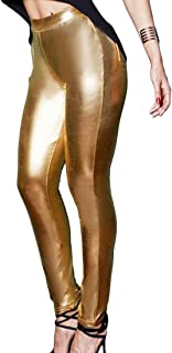 WSPLYSPJY Women's Stretchy Metallic Leggings Pants Sexy High Waisted Tights