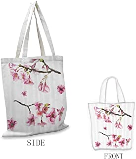 Tote Bags, Durable and Sturdy - for Crafting and Decorating, House Decor - Cherry Blossom Sakura Branch Spring Fruit Tree Flowers Hand Drawn Style Illustration - 16