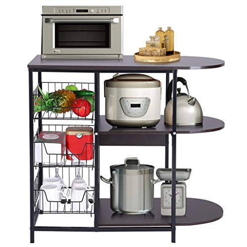 shamoluotuo Kitchen Baker's Rack Microwave Stand with Basket for Spice Rack Organizer Utility Shelf Cart Workstation Oven Stand Space Saving Bakers Stand Large Kitchen Island Organizer (Black Walnut)