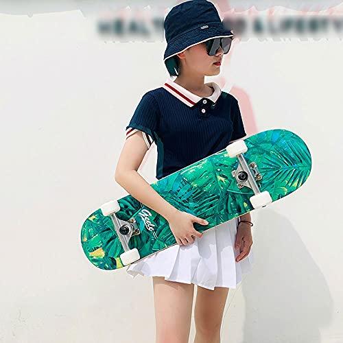 TTKD Patinetas para Principiantes, 31'x 8', patinetas estándar Completas para niñas, niños, Principiantes, 7 Capas de Arce Canadiense, patinetas cóncavas de Doble Patada para niños, jóvenes, Adultos,
