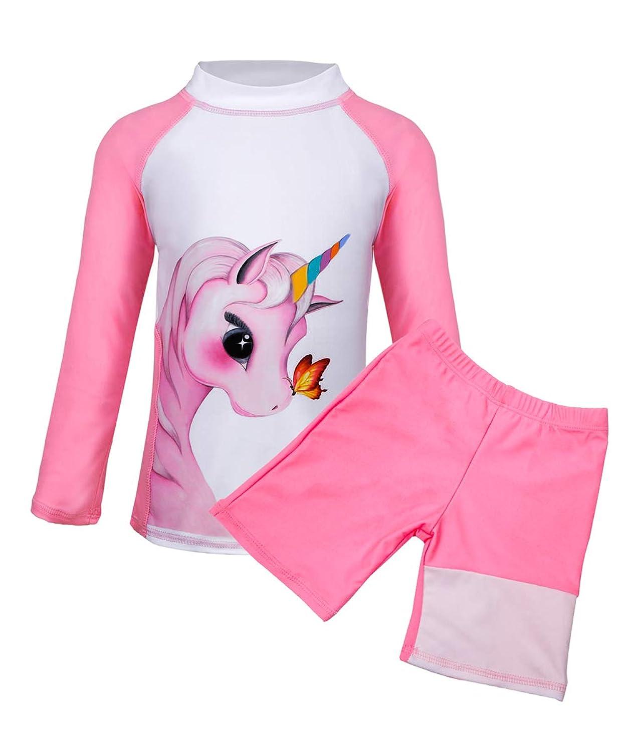 Suyye Girls Two Pieces Swimsuits Unicorn Rash Guard Tankini Kids Swimwear