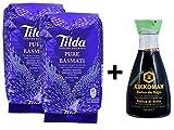 Tilda Pure Original Basmati Rice (2x500g) + Salsa de soja Kikkoman con poca sal (1x150ml)