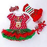Esishangma Baby Dress Navidad niña, Ropa de Manga Corta Historieta de la impresión de Ropa Vestido de Encaje de Cuatro Piezas Regalos adecuados for los años 0-2 Babys PP (Color : Elk, Size : 80)