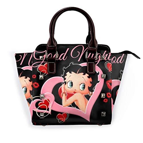 Be-Tty Bo-Op Fashion Pu Leather Rivet Shoulder Bag Handbagsbag Tote Handbags Purse Adjustable Shoulder Strap School Work Travel Gym Shopping