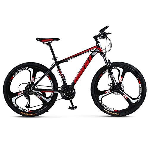 FJW Unisex Federung Mountainbike 21/24/27/30 Geschwindigkeit Stahlrahmen mit hohem Kohlenstoffgehalt 26 Zoll 3-Speichen-Räder MTB-Bike mit Doppelscheibenbremse,Black,21Speed