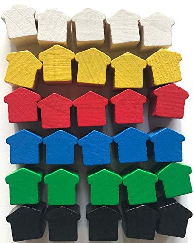 Spieltz Spielsteine Häuser groß / Hotels aus Holz für Brettspiele (6 x 5)