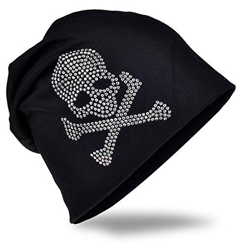 Jersey Slouch Beanie Long Mütze mit Totenkopf Strass Applikation Unisex Unifarbe Herren Damen Trend, Schwarz (mit Bone), Einheitsgröße