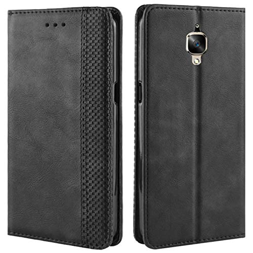 HualuBro Handyhülle für OnePlus 3T Hülle, OnePlus 3 Hülle, Retro Leder Brieftasche Tasche Schutzhülle Handytasche LederHülle Flip Case Cover für One Plus 3 / OnePlus 3T - Schwarz