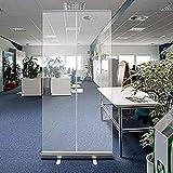 Lhdq oficina biombo, escudo de distanciamiento social, 80 * 200 cm transparente rollo de bandera, planta permanente contra estornudos, de aleación de aluminio