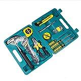 SSCYHT Kit de Herramientas mecánicas de Uso General Juego de Herramientas manuales portátiles con Caja de Herramientas de plástico (Kit de Herramientas para el hogar, la Oficina o el automóvil)