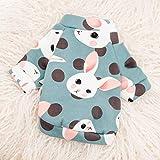 PONNMQ Süße Haustier Hund Kleidung für kleine Hunde Shih Tzu Yorkshire Hoodies Sweatshirt weiche Hündchen Katze Kostüm Kleidung, grünes Kaninchen, XL-18