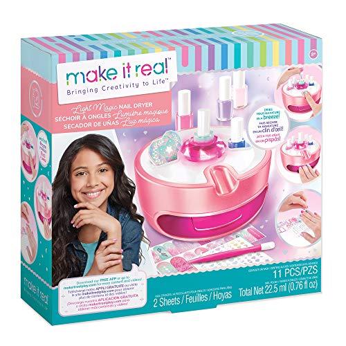 Make It Real - Light Magic Dryer and Nail Polish Set for Girls and Teens - Includes 5 Nail Polish Colors, Nail Dryer, Nail Art Stickers, and Nail File