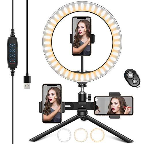 """HAPAW Selfie Ringlicht Stativ mit 3 Handyhalter & Fernbedienung, 10.2\"""" Selfie Ringleuchte, 3 Farbe Kaltes Warmes Licht, 10 Helligkeitsstufen, Desktop Ringlicht für YouTube/TikTok/Live-Stream/Makeup"""