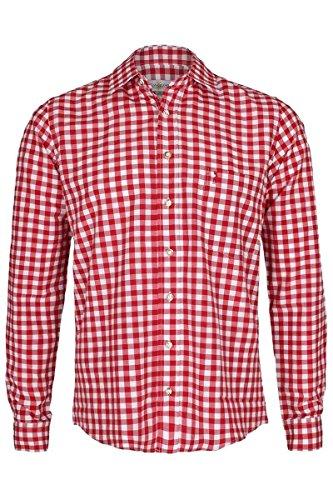 Almsach Herren Trachtenhemd Slim fit rot-Weiss kariert Langarm - Der Klassiker für alle Oktoberfeste und Volksfeste, ROT, L