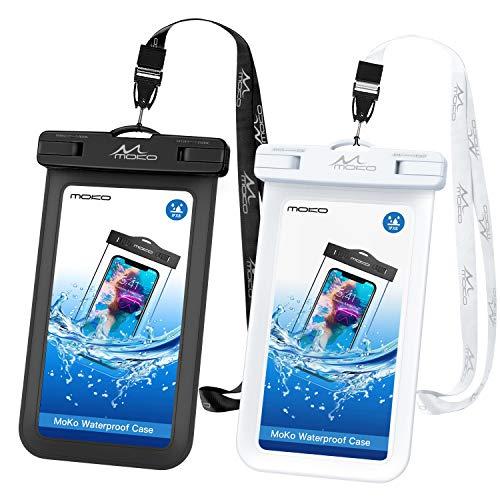 MoKo 2 Stück wasserdichte Handyhülle, Universal Handy Tasche Hülle IPX8 Schutzhülle für iPhone 12/12 mini/12 Pro/11/11 Pro/11 Pro Max/X/Xs/Xr/Xs Max/8/7/6s Plus, Galaxy S10/S10 e, Schwarz+Weiß