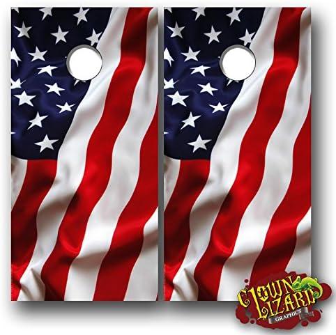 Clown Lizard Graphics CL0069 American Flag Cornhole gift Ranking TOP3 Lamin Waving