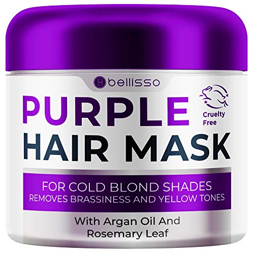 Bellisso Purple Mask for Blonde Hair - No More Yellow or Copper Tones - Deep Conditioner for Color Treated Locks with Keratin and Moroccan Argan Oil Treatment