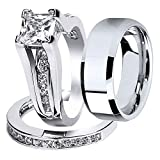 MABELLA Wedding Ring Sets Couples Rings Women's Size 8 Sterling Silver Princess Cubic Zirconia Men's Size 10 Stainless Steel Bands