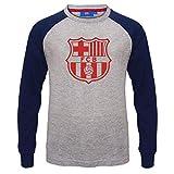 FCB FC Barcelona - Camiseta Oficial con Mangas raglán y el Escudo del Club - para niño - Gris - 4-5 años