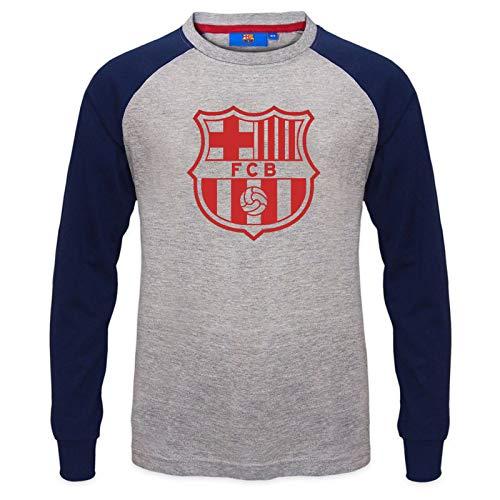 FC Barcelona - Camiseta oficial con mangas raglán - Para niños - Con el escudo del club - Gris - 10-11 años