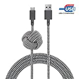 Native Union Night Cable USB-C to USB-A - 10ft Ultra-Strong Charging Cable with Weighted Knot compatible with Galaxy Z Fold 2, S20+, Note20, Google Pixel 5, iPad Pro (2018 & Later), iPad Air 4 (Zebra)