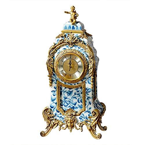 Qddan Kaminuhr Blau Und Weiß Porzellan Kamin Uhren Einfache Desk Clock Mute Desktop-Batteriebetriebene, Dekor-Geschenk Crafts (Farbe : White Blue)