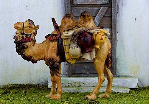 Kamel mit Gepäck für 9-10 cm Figuren. Aus Polyresin, handbemalt. Krippentiere.