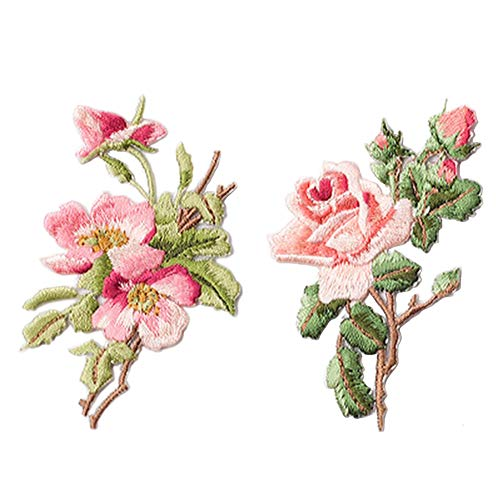 2 Pcs Flower Delicate Embroidered Patches, Embroidery Patches, Iron On Patches, Sew On Applique Patch,Cool Patches for Men, Women, Boys, Girls, Kids
