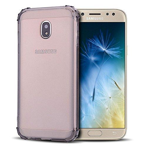 Anfire Carcasa para Samsung Galaxy J5 2017, Funda de Transparente y Suave Silicona Case Flexible Gel TPU [Esquinas Reforzadas] Bumper Caja Fundas Claro Blando Caso Cubierta Trasero - Gris