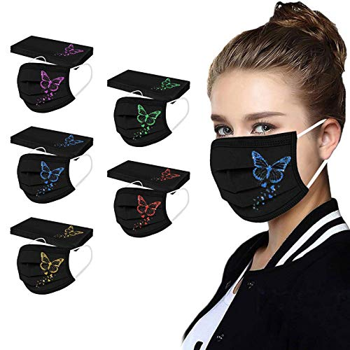Adults Disposable Breathable Face_Mask with Designs, Flower Printed Printed Paper Facemasks Mouth Anti-Dust Mouth_Covers Unisex