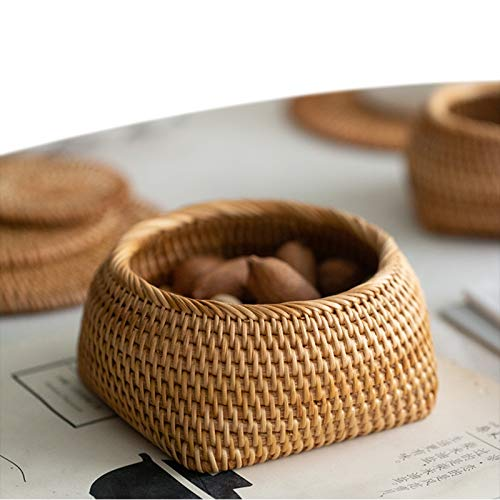MAHFEI Woven Bread Roll Baskets, Dried Fruit, Nut Basket Rattan Fruit Baskets Storage Basket Restaurant Serving Basket Natural Rattan Cane Basket Storage Container Decorative For Home