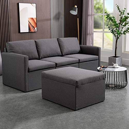 MU Convertible Sectional Sofa Couch Modern Fabric L-Shaped Couch 3-Seat Sofa Sectional with Reversible Chaise for Small Living Room, Apartment and Small Space