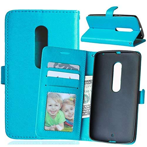 Wenlon Handy PU Hülle für Motorola Moto X Play / X3 Lux XT1562, Hochwertige Business Kunstleder Flip Wallet Handyhülle mit Card Slot Funktion, Bracket Funktion - Blau