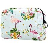 ATOMO Bolsa de maquillaje, cosmética de moda bolsa de viaje grande neceser organizador de maquillaje para mujeres, flamenco pájaro y flores tropicales depositphotos_9