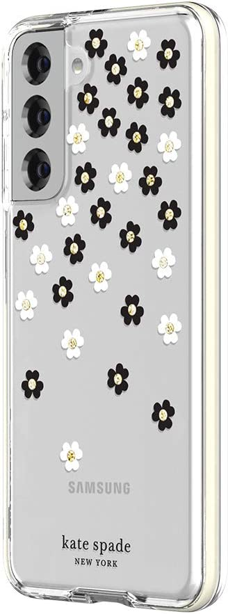 kate spade new york Defensive Hardshell Case Compatible with Samsung Galaxy S21 5G - Scattered Flowers Black/White/Gold Gems/Clear/White Bumper