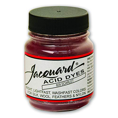 Jacquard Acid Dye for Wool, Silk and Other Protein Fibers, 1/2 Ounce Jar, Concentrated Powder, Scarlet 609
