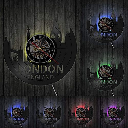 London England - Reloj de pared retro con diseño de paisaje urbano de Londres, diseño de la Torre de Londres